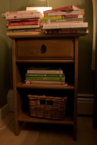 Book pile before