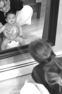 Potty in front of mirror