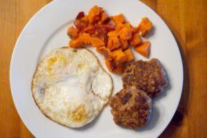 Chorizo, eggs and sweet potatoes