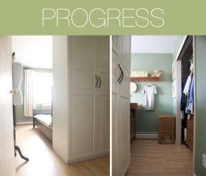 The closet in progress